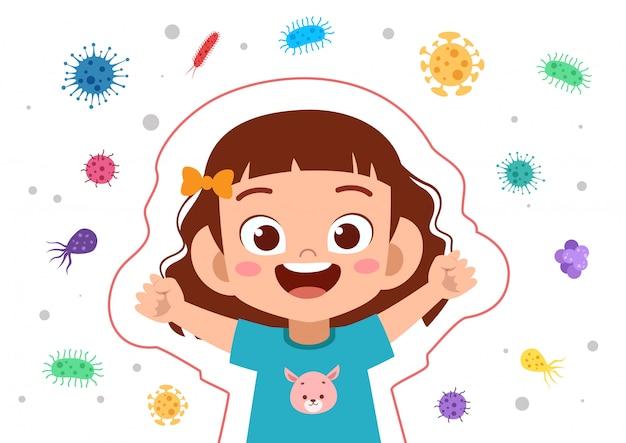 Proteção imune do sistema da menina da criança