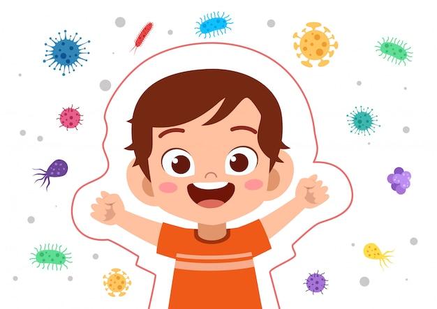 Proteção imune do sistema do menino da criança