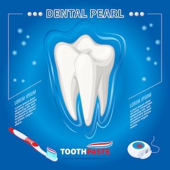 Proteção isométrica do conceito de pérola dental com escova de dente saudável, pasta de dente e fio dental isolados