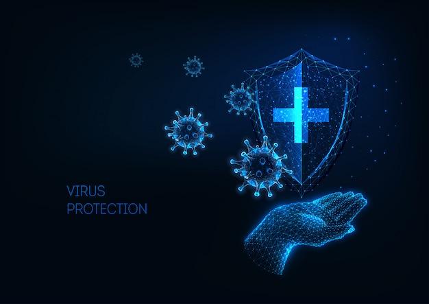 Proteção médica futurista do conceito de doença de coronavírus covid-19
