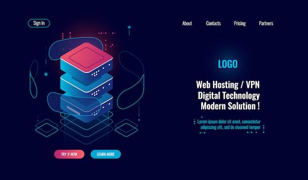 Proteção segura de dados, ícone isométrica, sala de servidores, armazenamento em nuvem, conceito de escudo de internet