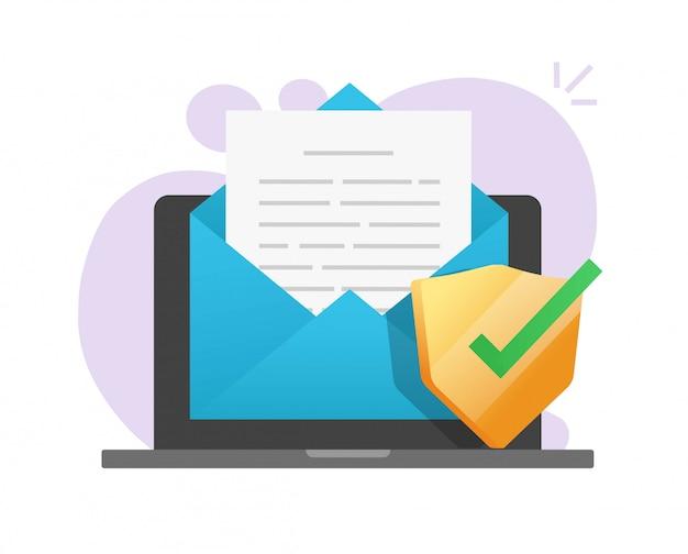 Proteção segura de documento de e-mail on-line no ícone do laptop no correio eletrônico