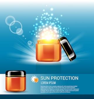 Proteção solar para cuidados com a pele com modelo de anúncio de luz milagrosa