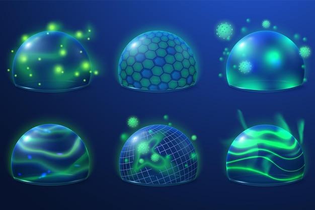 Proteção transparente. escudo de segurança, bolhas de energia para proteger. campos de segurança com futuro de grade, conjunto de vetores recentes de esfera 3d abstrata