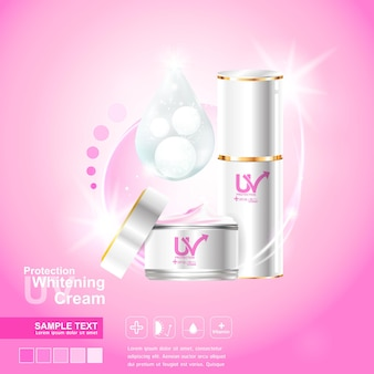 Proteção uv vector em fundo rosa para produtos para a pele