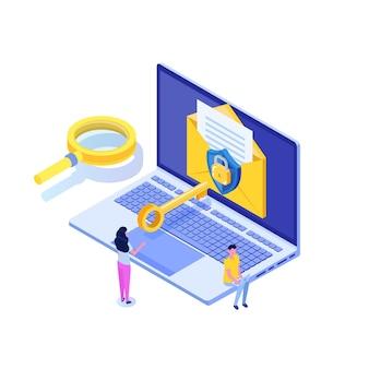 Protegendo dados do computador, conceito isométrico de criptografia de e-mail.
