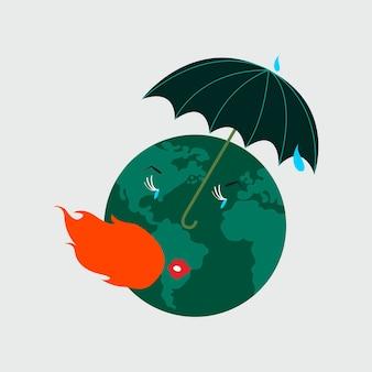 Protegendo o planeta terra da ilustração do aquecimento global