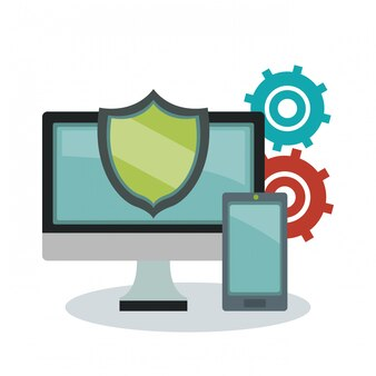 Proteger computador com smartphone e engrenagens