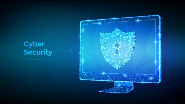 Proteger e cibersegurança do conceito seguro. resumo baixo computador poligonal monitor e escudo com o ícone do buraco da fechadura.