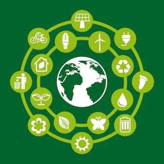 Proteger o meio ambiente sobre fundo verde