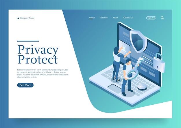 Proteja dados e confidencialidade segurança e conceito de proteção de dados confidenciais com caráter