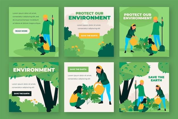 Proteja nosso meio ambiente postagens de mídia social