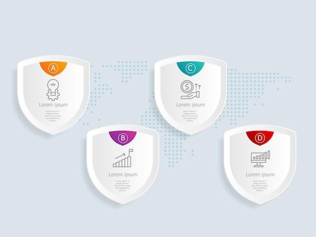Proteja o modelo de elemento de infográficos com ícones de negócios 4 opções