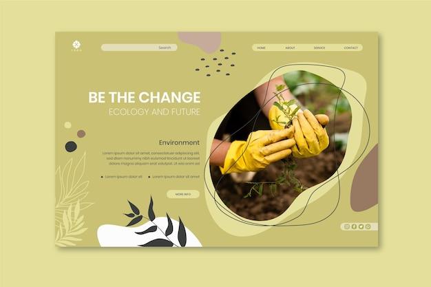 Proteja o modelo de página de destino ambiental