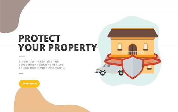 Proteja sua ilustração de bandeira de design plano de propriedade