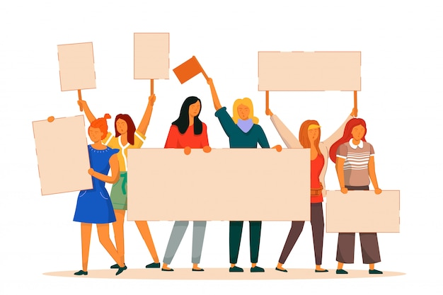 Protestadora de mulher. luta feminista ativista de vetor por liberdade, independência e igualdade. manifestante de menina com cartaz vazio fica isolado. ilustração do dia internacional da mulher