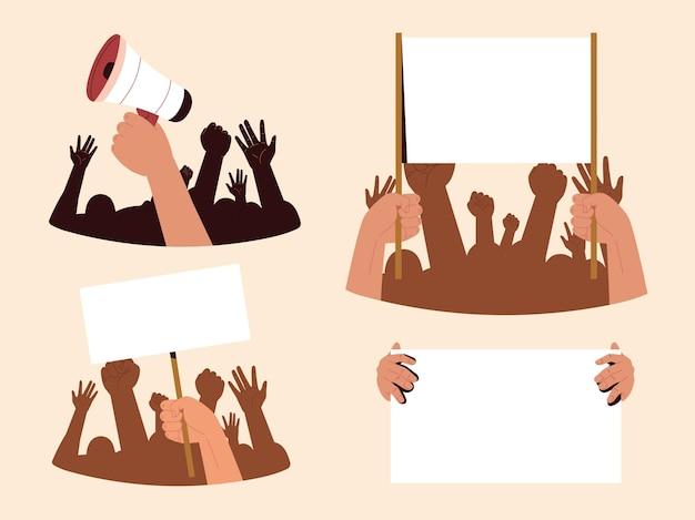 Protestando as mãos em punho