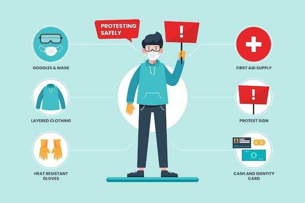 Protestando com segurança estilo infográfico