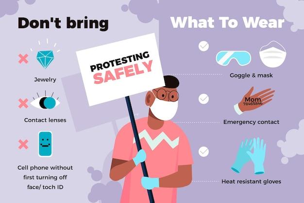 Protestando com segurança - infográfico