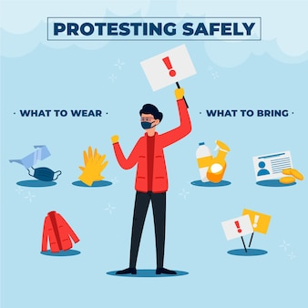 Protestando com segurança modelo de infográfico