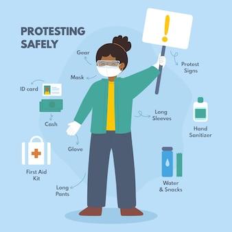 Protestando com segurança tema infográfico