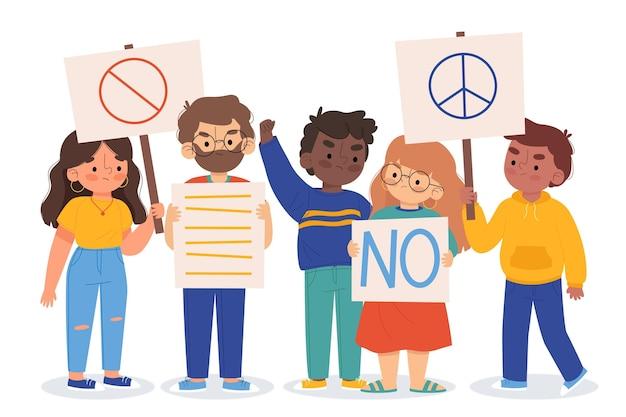 Protestando contra o conceito de ilustração de pessoas