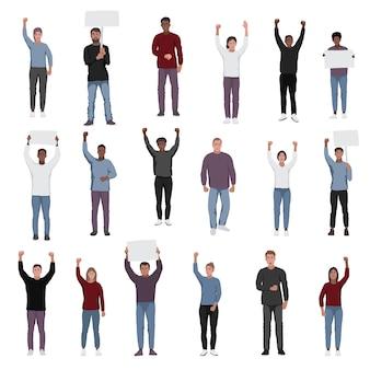 Protestando contra pessoas com punhos levantados conjunto de vetores