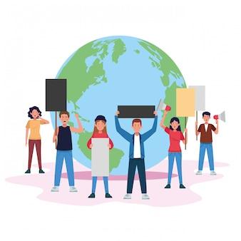 Protestando pessoas com pranchas e megafone no planeta mundo