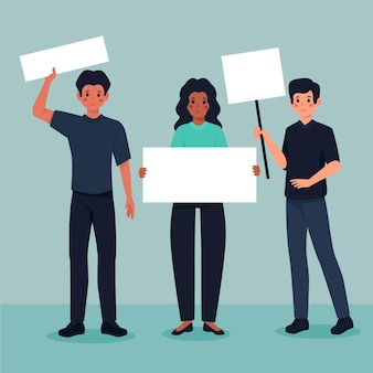 Protestando pessoas com sinais