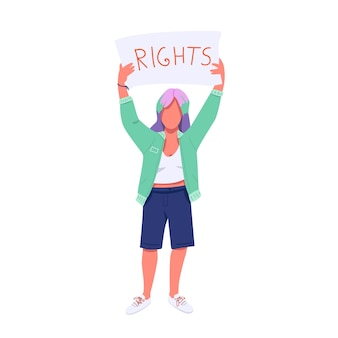 Protestante feminino com personagem sem rosto de cor lisa cartaz protesto pelos direitos das mulheres e igualdade. jovem feminista segurando bandeira isolada ilustração dos desenhos animados para web design gráfico e animação