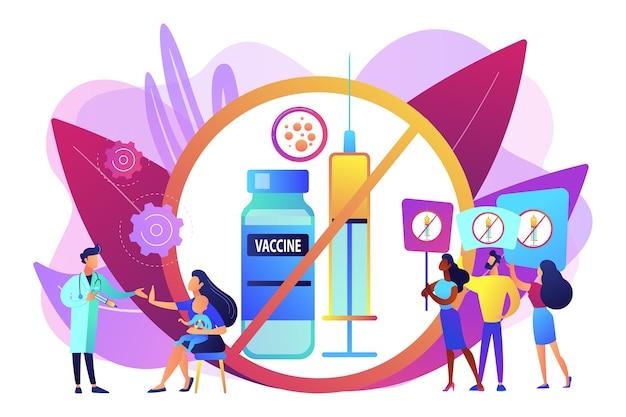 Protesto antivacinação, pessoas rejeitando a medicina preventiva. recusa de vacinação, imunização obrigatória, conceito de hesitação vacinal. ilustração isolada violeta vibrante brilhante