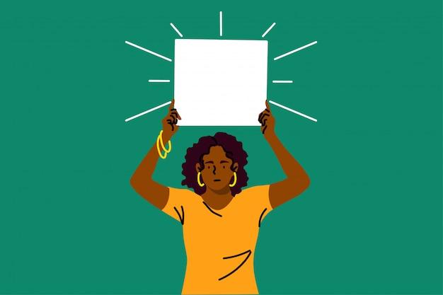 Protesto, ativismo, discriminação, racismo, conceito de banner