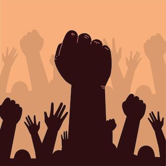 Protesto com mãos erguidas
