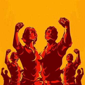 Protesto de multidão protesto revolução poster design