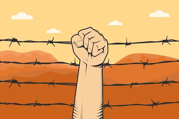 Protesto de sinal com mão punho e arame farpado