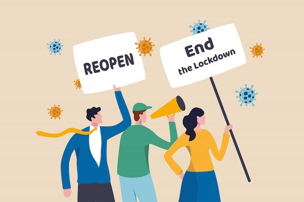 Protesto do coronavirus covid-19, pessoas que se reúnem para protestar para reabrir e encerrar o bloqueio para continuar o conceito de negócios, manifestantes com sinal para interromper o bloqueio do coronavírus com patógeno de vírus.