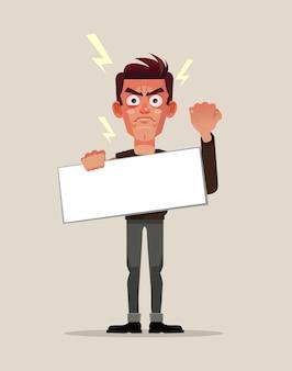 Protesto do personagem do homem. ilustração plana dos desenhos animados