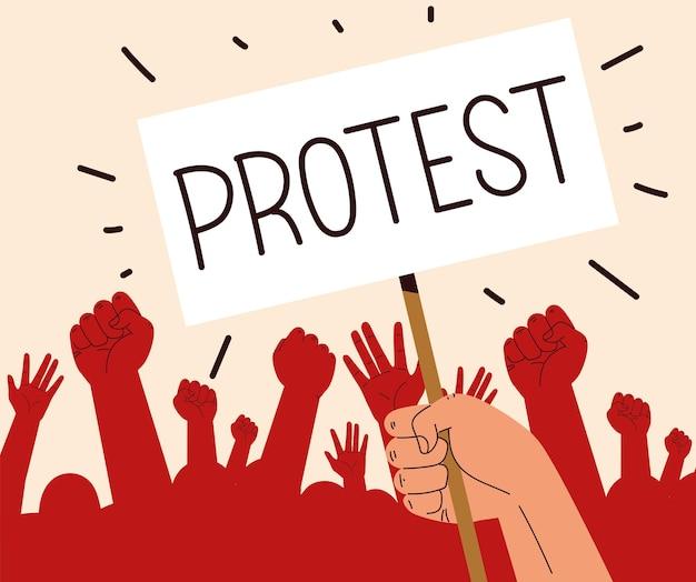 Protesto levantando as mãos