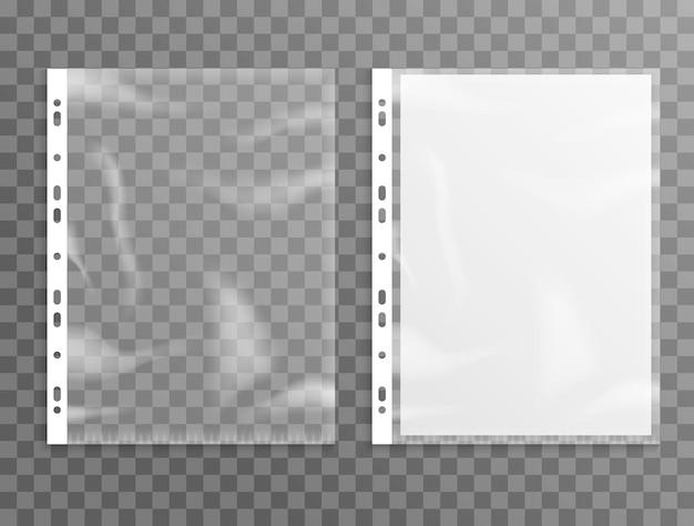Protetor de folha de plástico, pasta de arquivo transparente. maquete de folha de bolso perfurada a4 vazia.