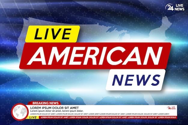 Protetor de tela de fundo em notícias de última hora americanas. notícias de última hora ao vivo no fundo do mapa dos eua.