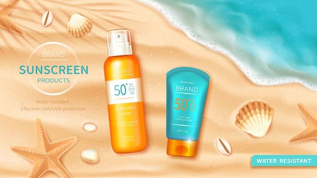 Protetor solar cosméticos no fundo do mar ou oceano