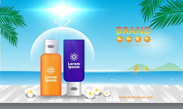 Protetor solar de publicidade na madeira céu azul e mar