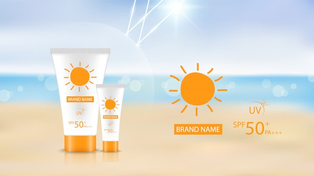 Protetor solar design de produto no fundo da praia, design de anúncio cosmético