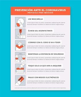 Protocolo de negócios para pôster de coronavírus