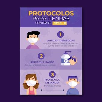 Protocolos de coronavírus para pôster comercial