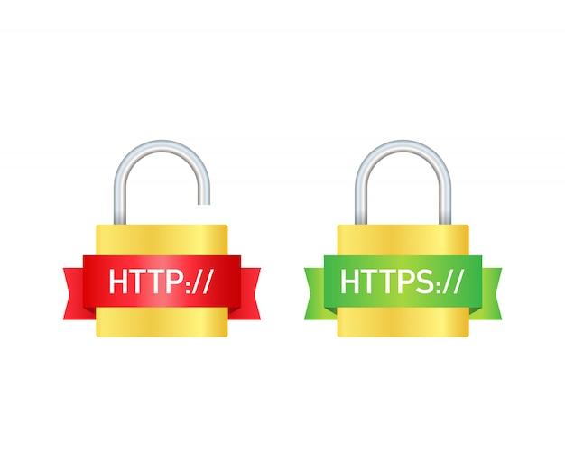 Protocolos http e https no escudo,. ilustração