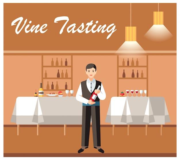 Prova de vinho banquete evento vector banner plano