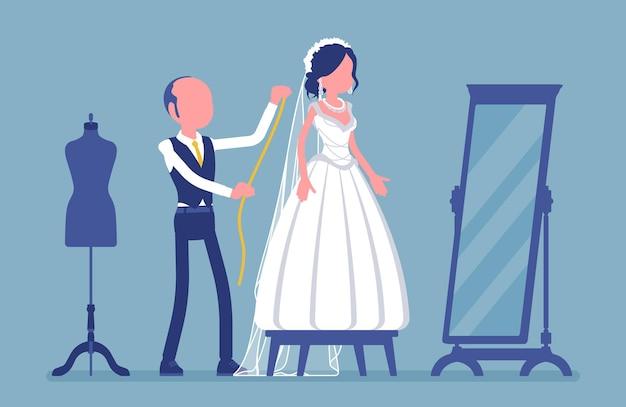 Prova do vestido de noiva, alterações com alfaiate