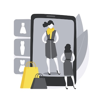 Provador virtual. encaixe virtual 3d, vestiário online, e-commerce, troca de roupas em realidade aumentada, espelho digital, varredura corporal. Vetor grátis
