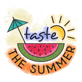 Prove o verão. fresco, aquarela, lettering